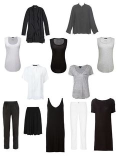 A Summer Common Wardrobe; substitute short or 3/4 sleeve tops and a long knit skirt for the long dress, a long striped skirt for the short skirt.