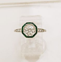 75ct Antique Diamond Emerald Art Deco Style Platinum Engagement Ring J33961   eBay
