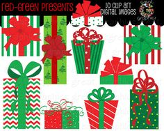 PRESENTS ARE CUTE BECAUSE OF THE WHITE ELEPHANT GIFT EXCHANGE Christmas Present Clip Art Red and Green by GreatGraphics on Etsy, $5.00