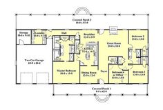 Southern Style House Plan - 4 Beds 2.5 Baths 2380 Sq/Ft Plan #44-173 Floor Plan - Main Floor Plan - Houseplans.com