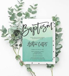 Watercolor Baptism Invite, Baptism Invitation Boy, Minimalist, Dip Dye, Modern Baptism, Gender Neutral Invite, Teal, 778 - Spotted Gum Design - Etsy