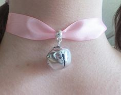 Cosplay Pink Ribbon & Silver Cat Bell Collar Choker Neko Outfit Costume Japanese Lolita Kawaii Kitty Halloween Festival