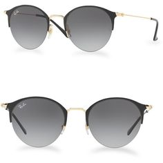 Ray-Ban Gradient Round Sunglasses ($175) ❤ liked on Polyvore featuring accessories, eyewear, sunglasses, ray ban sunnies, uv protection glasses, gradient sunglasses, brown lens sunglasses and brown gradient sunglasses