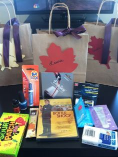 Bachelorette party favors - Wine Country Weekend theme (winery themed movie, Tide To-Go, Starbucks VIA, treats, reusable wine spigot, tissues, aspirin, fun samples from Birchbox)