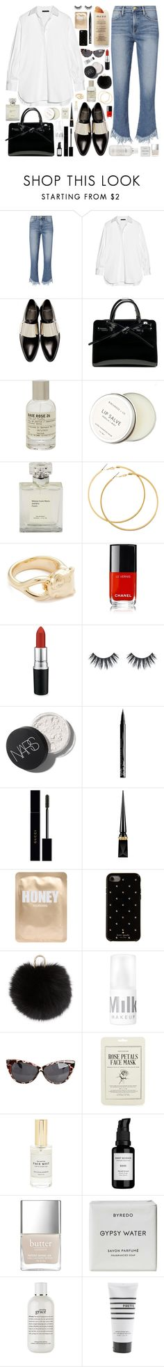 """F R I N G E / /"" by douxlaur ❤ liked on Polyvore featuring Frame, The Row, Givenchy, Martha Stewart, Le Labo, Birchrose + Co., H&M, Soave Oro, Chanel and MAC Cosmetics"