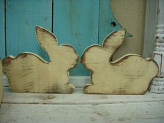 Handmade Wooden Rabbit in Your Antiqued Color Choice - Using Reclaimed Old Wood. $20.00, via Etsy.