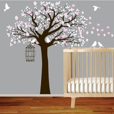 Flower Tree Vinyl Wall Decal Tree with Birds Nursery wall sticker decal. $99.00, via Etsy.