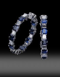 JPratt Designs: Custom designed Sapphire and Diamond Hoop Earrings