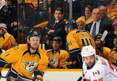 The Nashville Predators are without a regulation loss this season under new head coach Peter Laviolette. Can they hold the top spot in the Central Division and get to playoffs this season? Hockey News, Nhl News, Predator, Nashville, Take That, Division, Bench, Ice, Benches