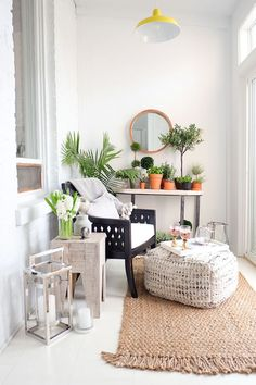 One of my favorite spaces in my apartment is my small balcony, almost a tiny sunroom. The windows keep it isolated and I've been able to add a small folding table and a bench transforming the… Small Sunroom, Small Balcony Design, Small Conservatory, Tiny Balcony, Small Balconies, Balcony Garden, Terrace, Home Interior, Interior Design