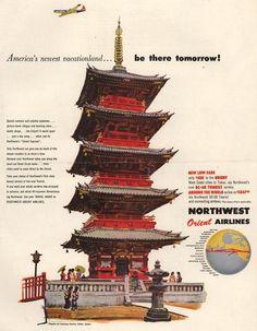 Vintage Northwest Orient Airlines Ad - 1954