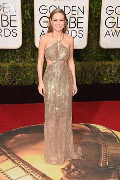 Brie Larson Is the Golden Girl on Golden Globes 2016 Red Carpet: Photo Brie Larson looks absolutely stunning while hitting the red carpet at the 2016 Golden Globe Awards held at the Beverly Hilton Hotel on Sunday (January in Beverly… Golden Globes 2016, Golden Globe Award, Jenna Dewan, Brie Larson, The Golden Girls, Red Carpet 2016, Beautiful Dresses, Nice Dresses, Prom Dresses