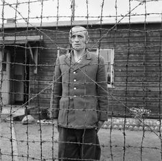 Berend Johan Westerveld, an SS camp guard at the Amersfoort concentration camp in Holland in detention after his capture.