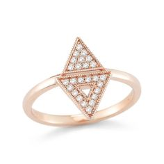 A modern take on traditional aztec patterns, this eye-catching rose gold ring makes for a unique addition to your collection. Sparkling with light-catching round white diamonds, the contemporary design features two back-to-back triangles. An edgy finishin...