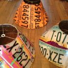 Check out these original lampshades made from recycled license plates.