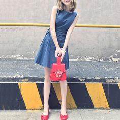 Little girl dress 2017 new stripes Korean high waist retro port chic wind skirt girls short