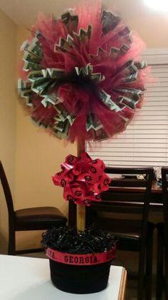 Ga Bulldog money topiary tree! Great for Christmas, graduation, birthdays and more!!!! Follow Christina Waller for more great ideas!