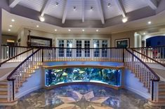 Best Ideas For Home Stairs Design With Aquarium 59 - Setting up a freshwater aquarium can be fun! But do you already have an idea on which freshwater aquarium fish to purchase? There are plenty of them a. Fish Tank Design, Cool Fish Tanks, Amazing Fish Tanks, Amazing Aquariums, Double Staircase, Home Stairs Design, Aquarium Design, Aquarium Ideas, House Stairs