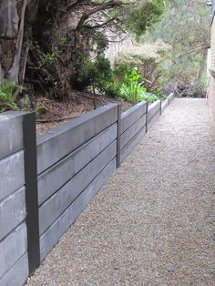 Gabion Fence Design For Garden Ideas Concrete Sleeper Retaining Walls, Backyard Retaining Walls, Gabion Fence, Backyard Fences, Wood Retaining Wall, Driveway Landscaping, Outdoor Landscaping, Landscaping Ideas, Residential Landscaping