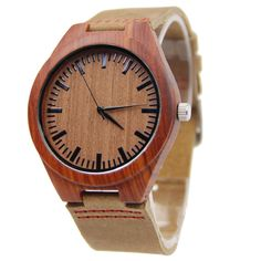Red Wingceltis Brown Leather Watch Business Men's Not Mechanical Japen Machine Quartz Fashion And Casual Gift Bamboo Watches - Watch Shop Wooden Watches For Men, Fossil Watches For Men, Luxury Watches For Men, Women's Watches, Fashion Watches, Cowhide Leather, Leather Men, Leather Case, Brown Leather Watch