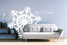 Large Snowflake Decals, Giant snowflakes, Holiday decals, Let it Snow decal, Frozen decals, snow wall decals, Let it go decals, Frozen decor by EmpireCityStudios on Etsy https://www.etsy.com/listing/254988537/large-snowflake-decals-giant-snowflakes
