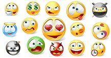 Even more new Facebook smileys have been designed! Express every emotion from anger and stress to elation and happiness.