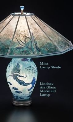 Mermaid lamp -- contemporary art glass and Mica Lamp Shade