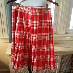 Vintage wrap plaid kilt skirt S Beautiful plaid wool skirt with Velcro closure as well as snaps. 14 inch waist, 25 inches long. Wool. This is from my friends 93 year old mother. No issues. If it fit me I wouldn't sell it vintage the scotch house Skirts