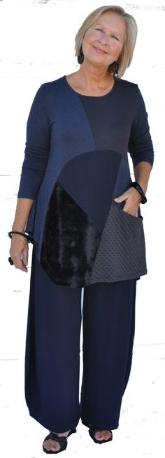Textured, pieced and pocketed, asymmetrical swing tunic with textured full pant…