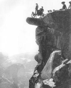Vintage Photographs of Tourists on the Overhanging Rock, Yosemite National Park - Yosemite Mono Lake Paiute Indians or Native Americans - Zimbio Vintage Photographs, Vintage Photos, Antique Photos, Old Pictures, Old Photos, Yosemite National Park, National Parks, Yosemite Valley, Best Photographers
