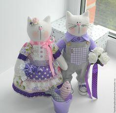 Купить Котики: Василий и Виолетта (цена за пару) - кот, тильда кот, коты