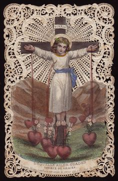 Yeah, nothing creepy about a crucified kid bleeding on a bunch of disembodied hearts