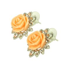 Women's Kate Marie Fashion Earrings Rose 3 - Orange Stud Earrings ($28) ❤ liked on Polyvore featuring jewelry, earrings, orange, orange earrings, orange jewelry, rhinestone jewelry, stud earrings and earrings jewelry