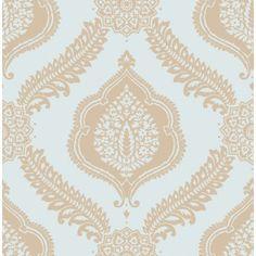 Abingdon Soft Teal / Gold Metallic Damask Wallpaper by Fine Decor FD40644