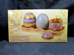 Debbie Mumm Easter Egg Boston Warehouse Condiment Set w Tray 2002 NIB