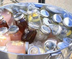 A Foodie Friend Idea!  *Ready made beverages or cocktails in mason jars, Served in an ice tub. How awesome is that...all in one...No paper cup trash, No serving, Everyone can get their own and they seal...Packed in an ice tub...So no one is in your fridge with extra traffic in the kitchen...And if you are making cocktails..The bar tending is already done!!! Enjoy your party.