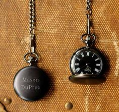 Personalized Pocket Watch Set of 5 Personalized Midnight Pocket Watch. Handsome and a little bit mysterious, our Personalized Midnight Pocket Watch is a classic groomsmen gift with a modern twist. Best Groomsmen Gifts, Groomsman Gifts, Groom Gifts, Groomsmen Presents, Bride Gifts, Groomsmen Boxes, Personalized Pocket Watch, Personalized Gifts, Personalized Wedding