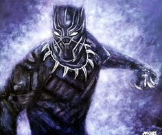 The black panther Acrylics  Actor Chadwick Aaron Boseman The Black Panther  Marvel