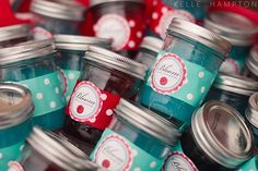 Love the idea of wrapping ribbon around canning jars and securing with DIY labels