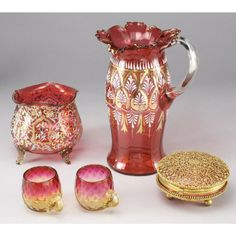 Lot:270: 5 pcs. Libbey Amberina and Moser cranberry glass, Lot Number:270, Starting Bid:$250, Auctioneer:Dallas Auction Gallery, Auction:270: 5 pcs. Libbey Amberina and Moser cranberry glass, Date:12:00 PM PT - Oct 25th, 2006