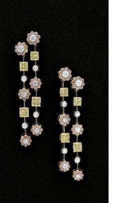 Pink and Yellow Diamond Earrings by Graff