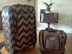 painted chevron animal print on Black Luggage to match carry on.