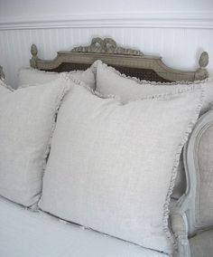 Belgian Linen Mini Ruffle Pillow with Down Insert From Full Bloom Cottage on esty Linen Pillows, Bed Pillows, Linen Bedding, French Pillows, French Provincial Furniture, Ruffle Pillow, Linens And Lace, Distressed Furniture, Beautiful Bedrooms