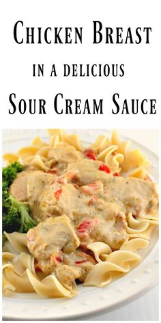 Chicken Breast in Sour Cream Sauce - The sour cream sauce is flavored with onion, sweet red peppers, garlic, paprika and chicken broth. It has an amazing rich flavor with a smooth and creamy texture. via @https://www.pinterest.com/BunnysWarmOven/bunnys-warm-oven/