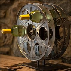 Maybe the coolest wine rack ever! Vintage Film Reel Wine Rack | Bambeco