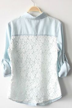 Denim Shirt With Lace>>> I want it, its casual but still looks cool!