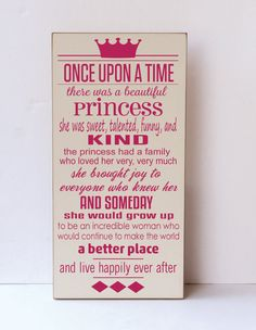 Once Upon A Time Wooden Sign - Nursery Decor - Childrens Room Decor - Princess Decor - Baby Shower Gift - You Pick Colors via Etsy