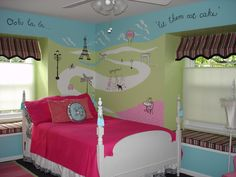 Blue Green Painted Wall Panel For Little Girls Bedroom And White ...