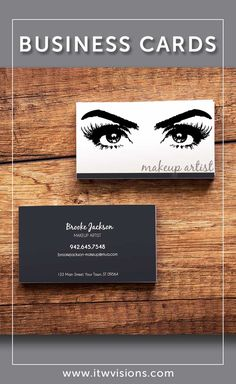 Business card designs for makeup artists.  We will customize your cards for you!  Send us the details at itwvisions.com and we will send you a proof by email to review before anything is printed.  Many other designs to choose from.  Matching price list, after care card, appointment card, thank you card and more marketing materials.  Posters, signs, wall art for your lash studio or salon. Classic Business Card, Business Card Size, Business Card Design, Online Business, Appointment Card, Makeup Artist Business Cards, Price List, Make Me Up, Makeup Artists