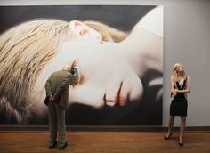 """deaprojekt:     """"Head of a Child 14 (Anna)"""", 2012oil and acrylic on canvas, 420cm x 300cmOn the right is Anna, who posed for the artist several years ago. The painting is currently on view at the Helnwein Retrospective at theAlbertina Museum. (photo Martin Andorfer)."""